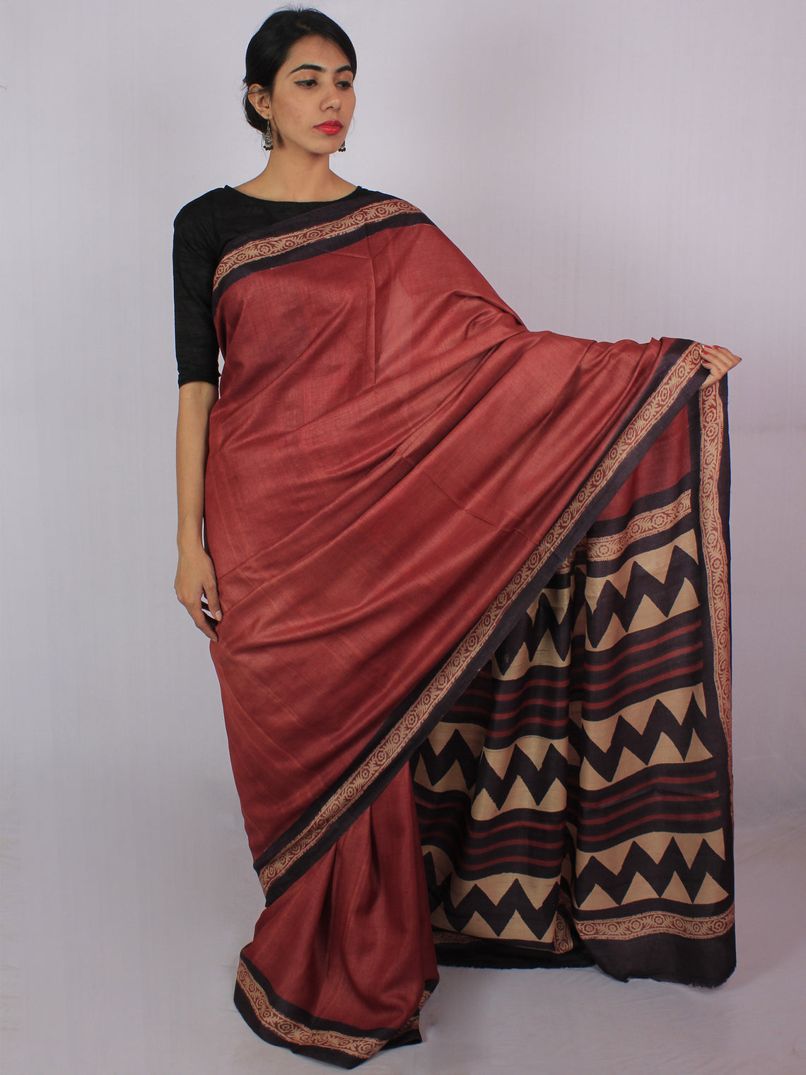Tussar Handloom Silk Hand Block Printed Saree in Dark Vermilion Red Purple Beige - S031701205