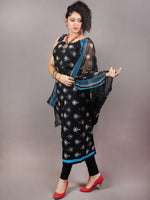 Black White Hand Block Printed Cotton Suit-Salwar Fabric With Chiffon Dupatta - S1628121