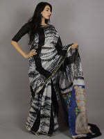 Black Ivory Multi Color Hand Shibori Dyed With Kalamkari Pallu Chanderi Silk Saree - S031701213