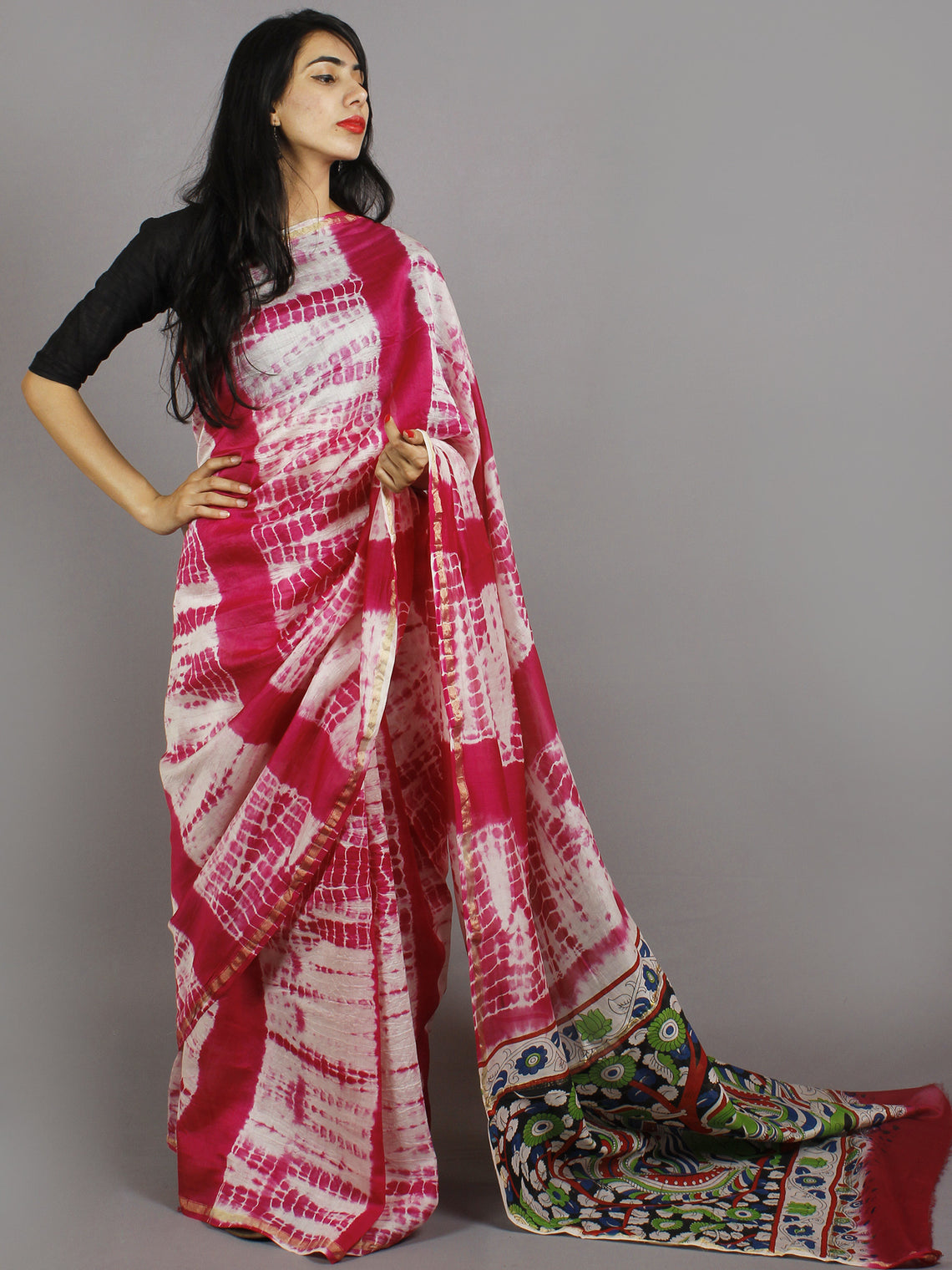 Pink Ivory Multi Color Hand Shibori Dyed With Kalamkari Pallu Chanderi Silk Saree - S031701215