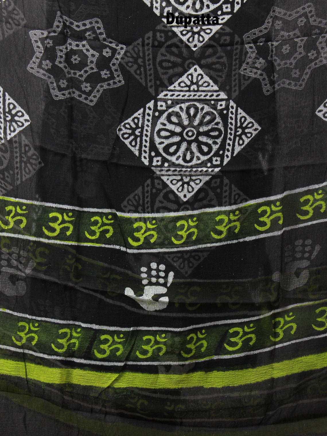 Black White Hand Block Printed Cotton Suit-Salwar Fabric With Chiffon Dupatta - S1628122