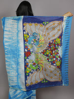 Azure Blue Ivory Multi Color Hand Shibori Dyed With Kalamkari Pallu Chanderi Silk Saree - S031701221