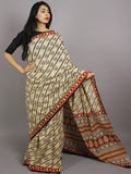 Beige Black Maroon Cotton Hand Block Printed Saree in Natural Colors - S031701224