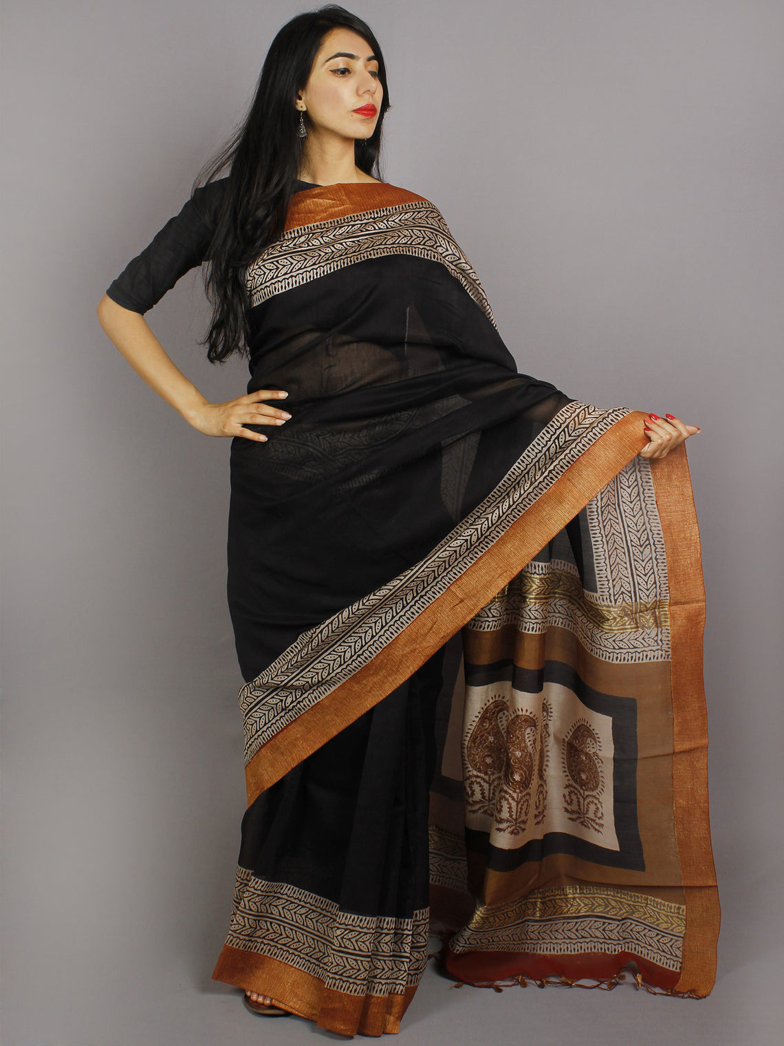 Black Beige Brown Hand Block Printed & Hand Painted in Natural Vegetable Colors Chanderi Saree With Ghicha Border - S031701225