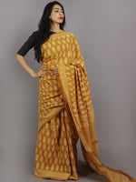 Mustard Yellow Ivory Hand Block Printed in Natural Colors Cotton Mul Saree - S031701229