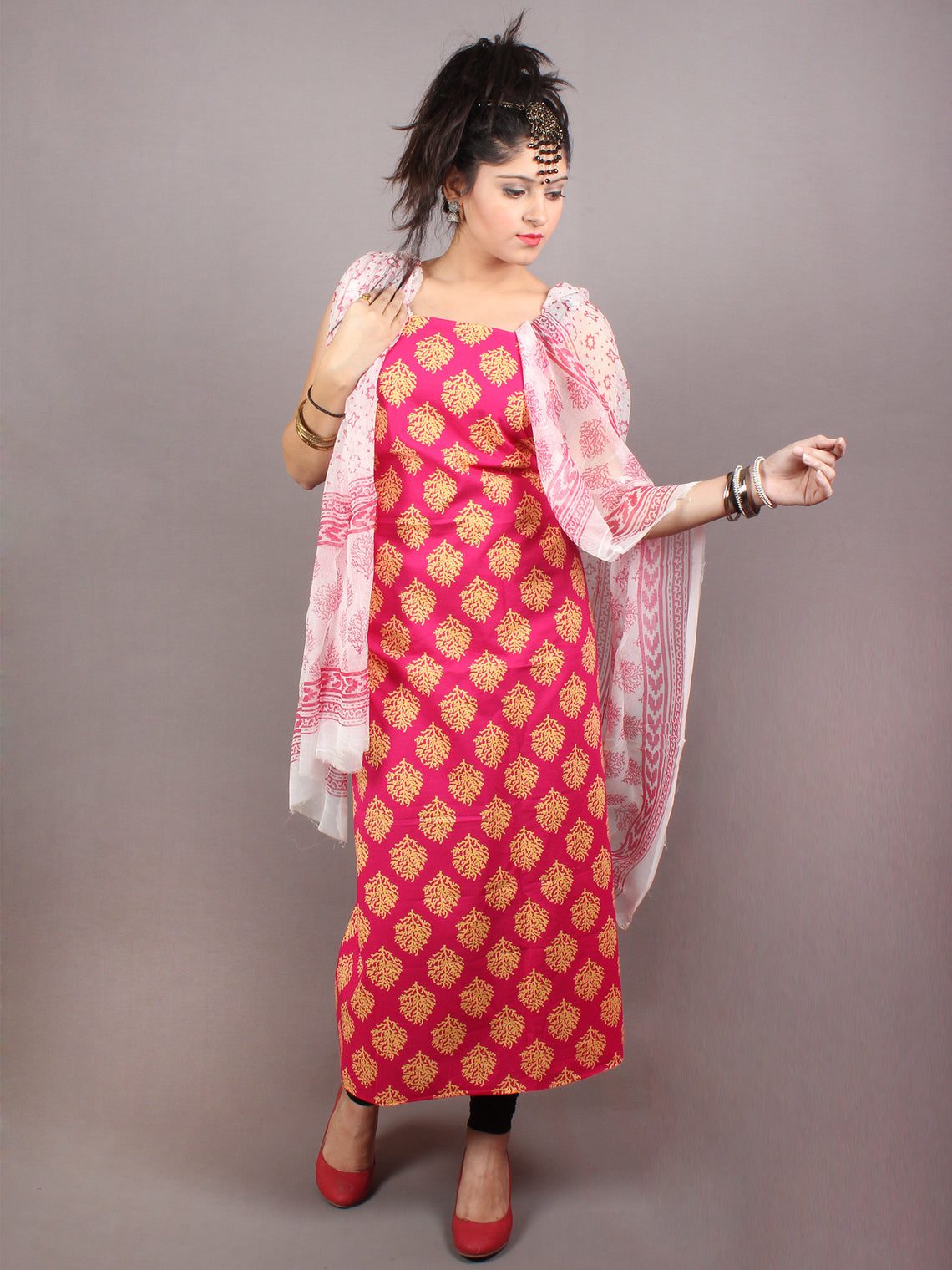 Pink Yellow Hand Block Printed Cotton Suit-Salwar Fabric With Chiffon Dupatta - S1628123