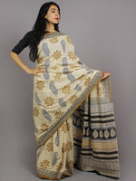 Beige Blue Brown Black Hand Block Printed in Natural Colors Cotton Mul Saree - S031701232