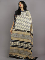 Beige Blue Black Hand Block Printed in Natural Colors Cotton Mul Saree - S031701238