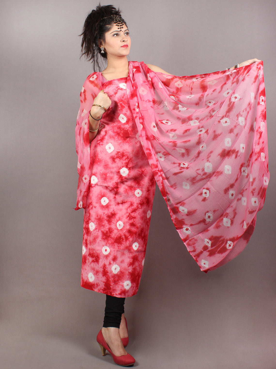 Light Pink Red White Hand Shibori Dyed Cotton Suit-Salwar Fabric With Chiffon Dupatta - S1628124