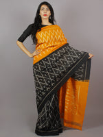 Yellow Black Grey Ikat Handwoven Pochampally Mercerized Cotton Saree - S031701245
