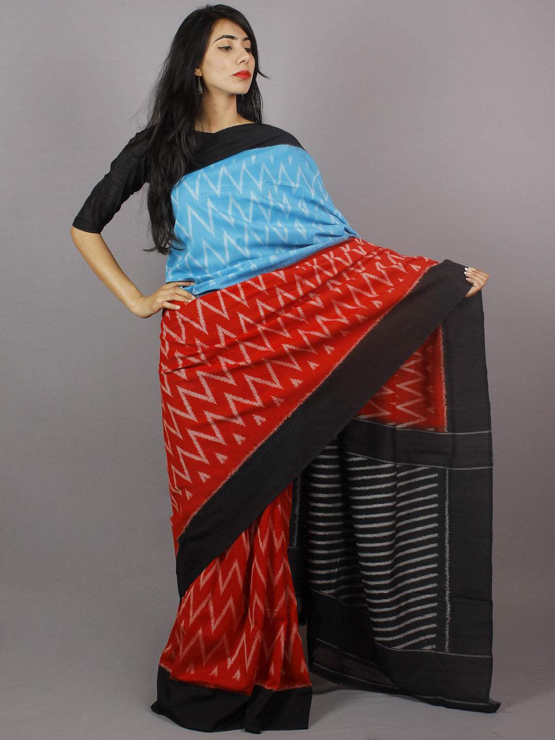 Azure Red Black Grey Ikat Handwoven Pochampally Mercerized Cotton Saree - S031701246