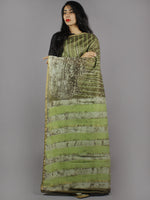 Olive Green Beige Brown Hand Block Printed in Natural Colors Chanderi Saree - S03170782
