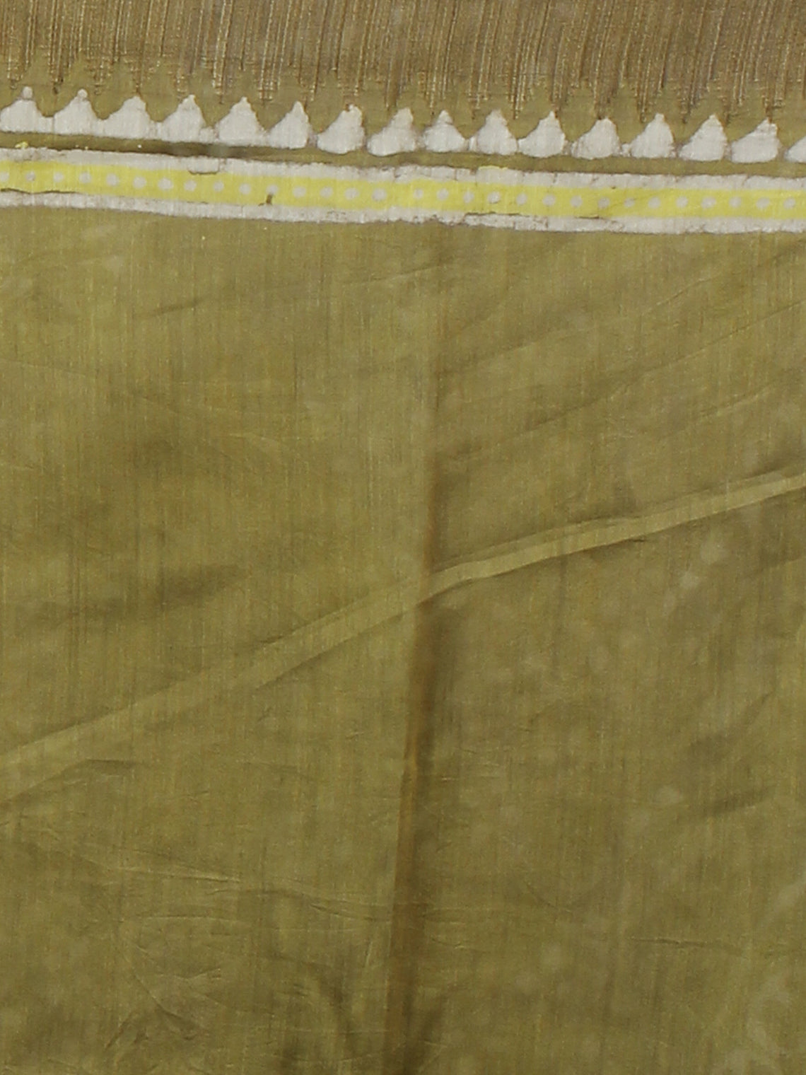 Tortilla Brown Green Ivory Black Hand Block Printed in Natural Vegetable Colors Chanderi Saree With Geecha Border - S03170712