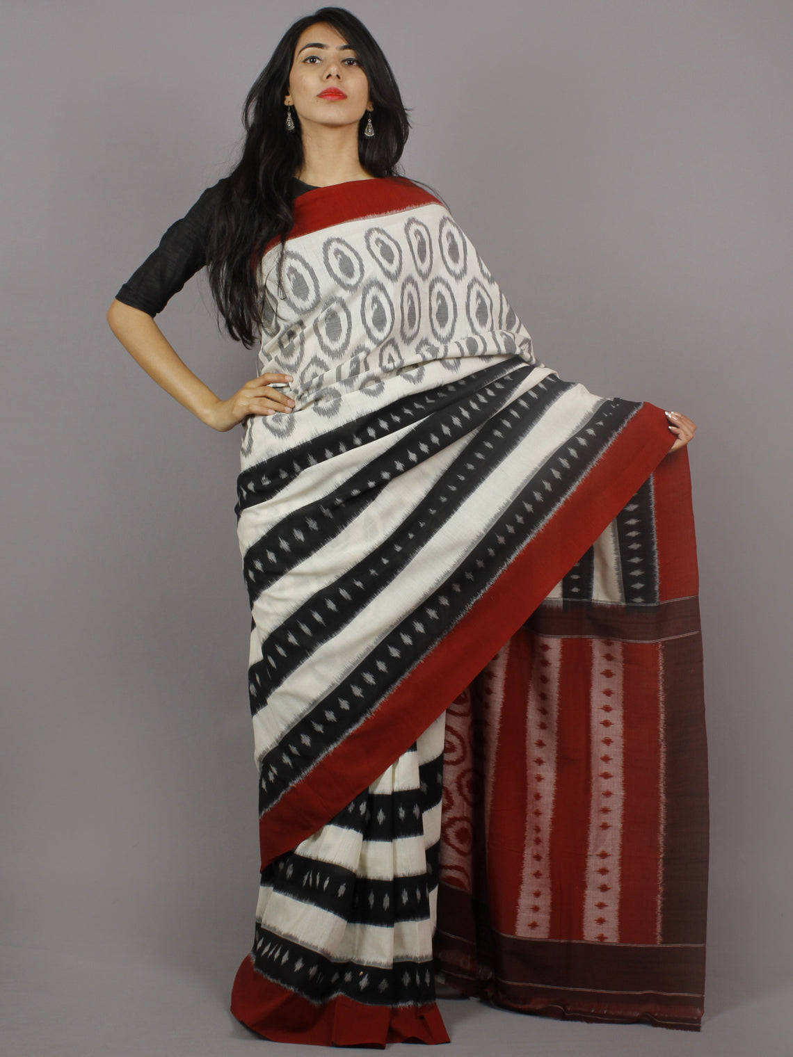 Ivory Black Maroon Grey Ikat Handwoven Pochampally Mercerized Cotton Saree - S031701249
