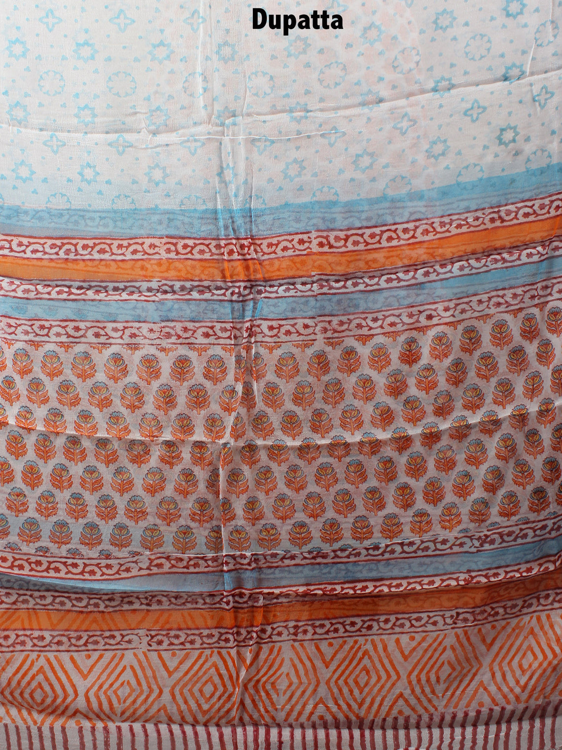 White Orange Blue Hand Block Printed Cotton Suit-Salwar Fabric With Chiffon Dupatta - S1628125