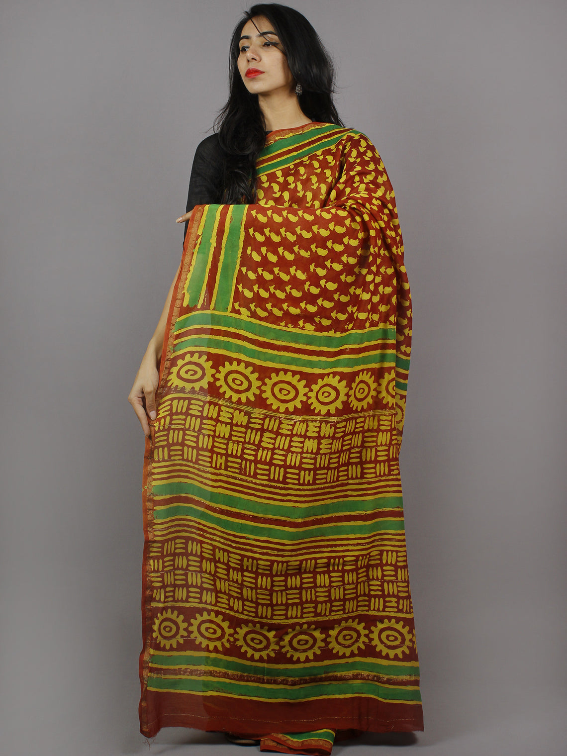 Maroon Yellow Green Hand Block Printed in Natural Colors Chanderi Saree - S03170768