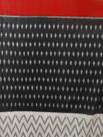 Black Ivory Grey Red Ikat Handwoven Pochampally Mercerized Cotton Saree - S031701250