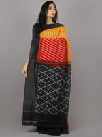 Yellow Red Black Ivory Ikat Handwoven Pochampally Mercerized Cotton Saree - S031701252