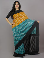 Mustard Teal Green Black Ivory Ikat Handwoven Pochampally Mercerized Cotton Saree - S031701256