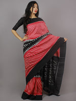 Pink Black Grey Ikat Handwoven Pochampally Mercerized Cotton Saree - S031701259