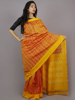 Yellow Golden Red Ikat Handwoven Pochampally Mercerized Cotton Saree - S031701260