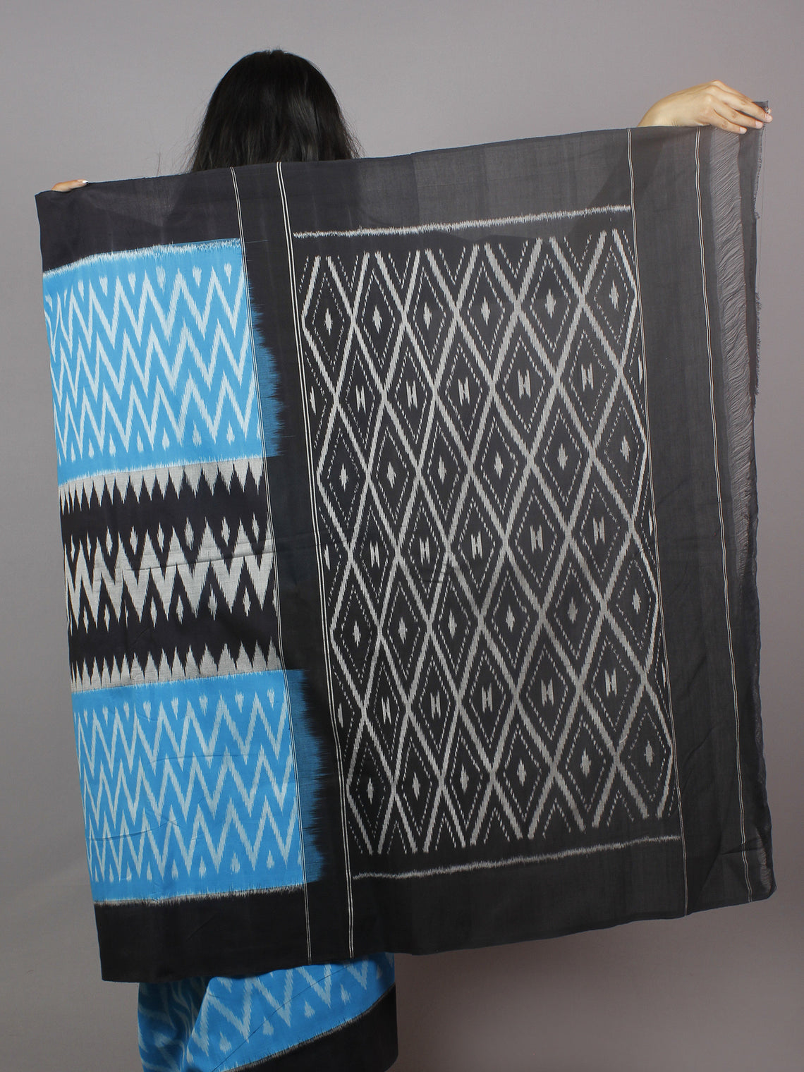 Azure Blue Grey Black White Ikat Handwoven Pochampally Mercerized Cotton Saree - S031701264