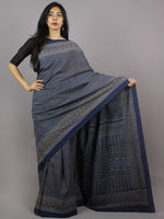 Indigo Maroon Grey Mughal Nakashi Ajrakh Hand Block Printed in Natural Vegetable Colors Cotton Mul Saree - S031701268