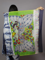 Indigo Ivory Multi Color Hand Shibori Dyed With Kalamkari Pallu Chanderi Silk Saree - S031701267