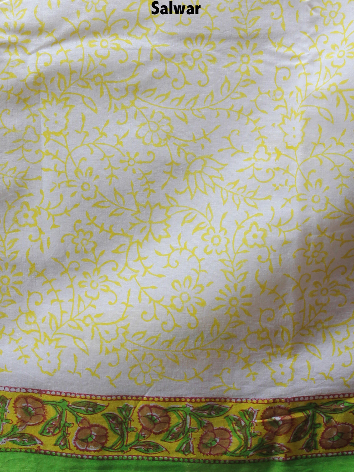 Ivory Yellow Green Hand Block Printed Cotton Suit-Salwar Fabric With Chiffon Dupatta - S1628127