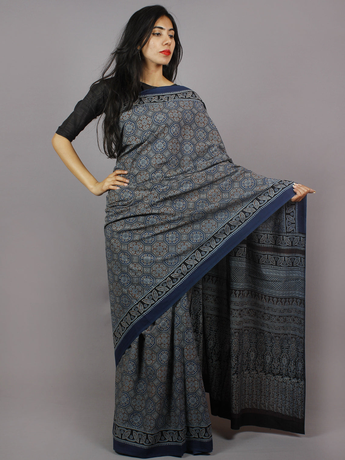 Indigo Maroon Beige Black Mughal Nakashi Ajrakh Hand Block Printed in Natural Vegetable Colors Cotton Mul Saree - S031701271