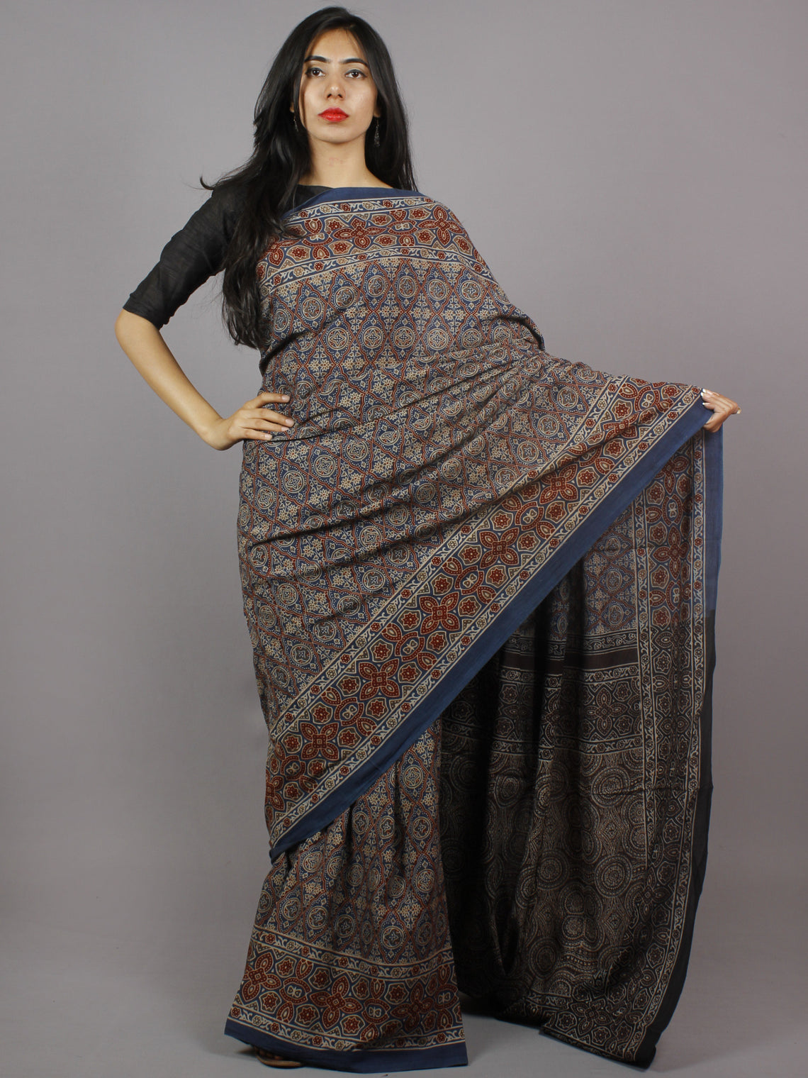 Indigo Maroon Beige Brown Mughal Nakashi Ajrakh Hand Block Printed in Natural Vegetable Colors Cotton Mul Saree - S031701276