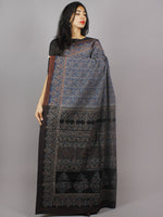 Indigo Maroon Beige Black Mughal Nakashi Ajrakh Hand Block Printed in Natural Vegetable Colors Cotton Mul Saree - S031701278