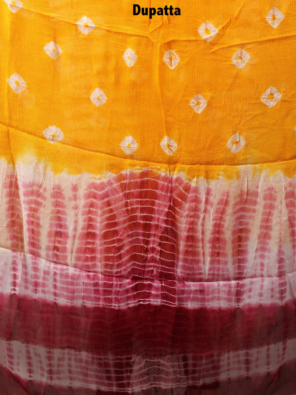 White Pink Yellow Hand Shibori Dyed Cotton Suit-Salwar Fabric With Chiffon Dupatta - S1628128
