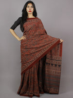 Red Black Beige Mughal Nakashi Ajrakh Hand Block Printed in Natural Vegetable Colors Cotton Mul Saree - S031701281