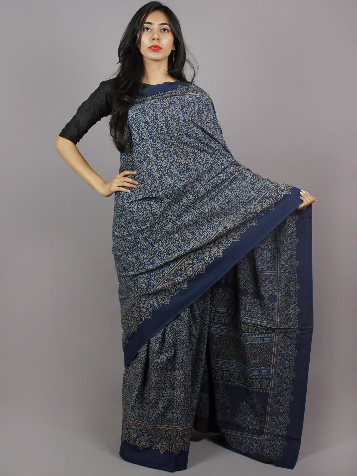 Indigo Brown Ivory Black Mughal Nakashi Ajrakh Hand Block Printed in Natural Vegetable Colors Cotton Mul Saree - S031701282