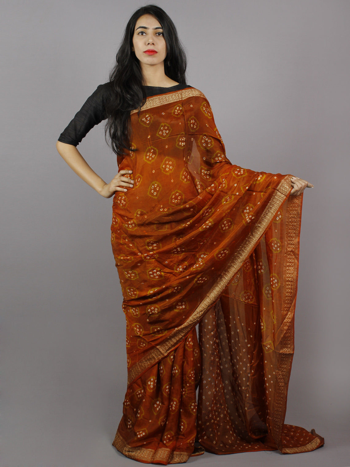 Reddish Brown Green Ivory Hand Tie & Dye Bandhej Art Silk Saree - S031701288