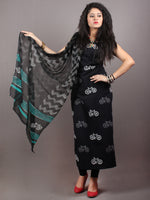 Black White Hand Block Printed Cotton Suit-Salwar Fabric With Chiffon Dupatta - S1628129