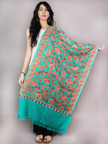 Green Aari Embroidery Chinar Jal Pure Wool Stole from Kashmir - S6317085