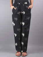 Black Hand Block Printed Elasticated Waist Trousers- T0317013