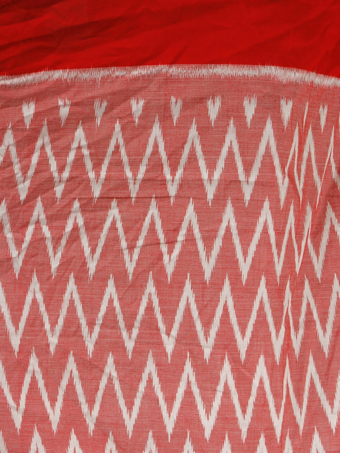 Red White Ikat Handwoven Pochampally Mercerized Cotton Saree - S031701304