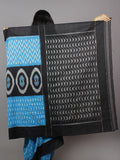 Azure Blue Black Grey Ikat Handwoven Pochampally Mercerized Cotton Saree - S031701248