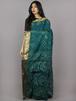 Dark Green White Hand Tie & Dye Bandhej Cotton Mul Saree - S031701308