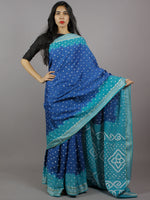 Cobalt Blue Fern Blue Ivory Hand Tie & Dye Bandhej Glace Cotton Saree With Resham Border - S031701309