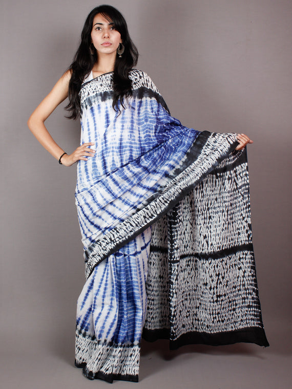 Cobalt Blue Black White Hand Dyed Cotton Mul Saree  - S03170461