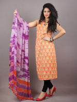 Orange Ivory Indigo Hand Block Printed Cotton Suit-Salwar Fabric With Chiffon Dupatta - S1628131
