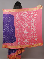 Dark Purple Pastel Pink Ivory Hand Tie & Dye Bandhej Glace Cotton Saree With Resham Border - S031701310