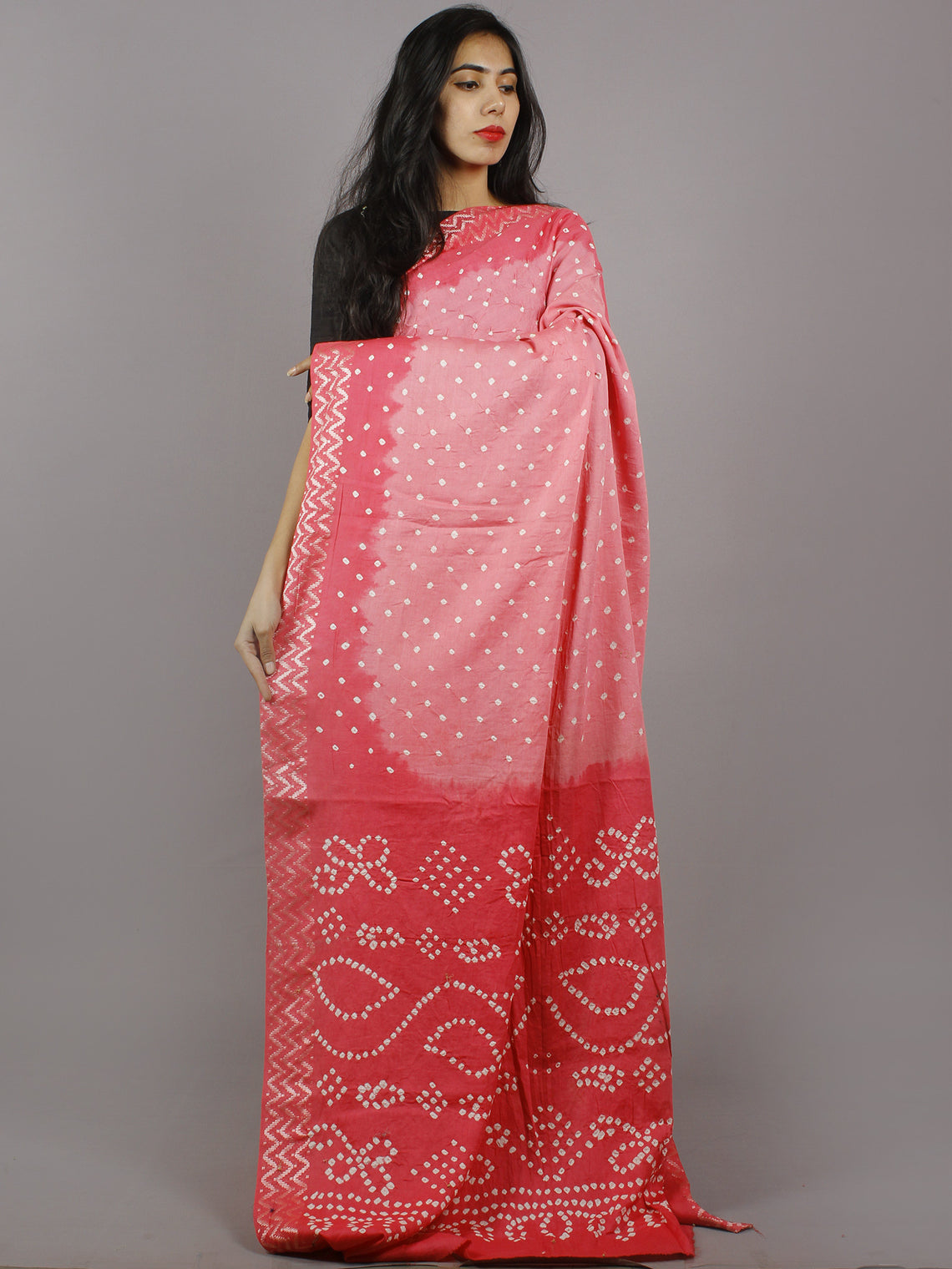 Pastel Pink Ivory Hand Tie & Dye Bandhej Glace Cotton Saree With Resham Border - S031701312