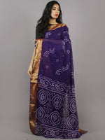 Deep Purple White Hand Tie & Dye Bandhej Cotton Mul Saree - S031701314
