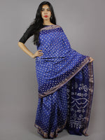 Shaded Blue Ivory Hand Tie & Dye Bandhej Glace Cotton Saree With Resham Border - S031701315