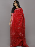 Dark Maroon Ivory Hand Tie & Dye Bandhej Glace Cotton Saree With Resham Border - S031701316